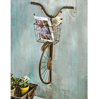 Iron Bicycle Wall Decor - Basket for Storage Magazine Rack Flower Pot Holder - 17 in. x 30 in.x 8 in.