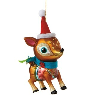 """6"""" Glittered Glass Deer with Santa Hat Christmas Ornament"""