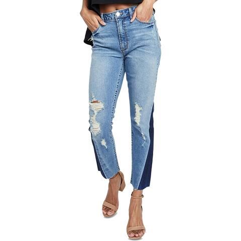Rachel Roy Womens May Straight Crop Jeans Denim Rebel Wash
