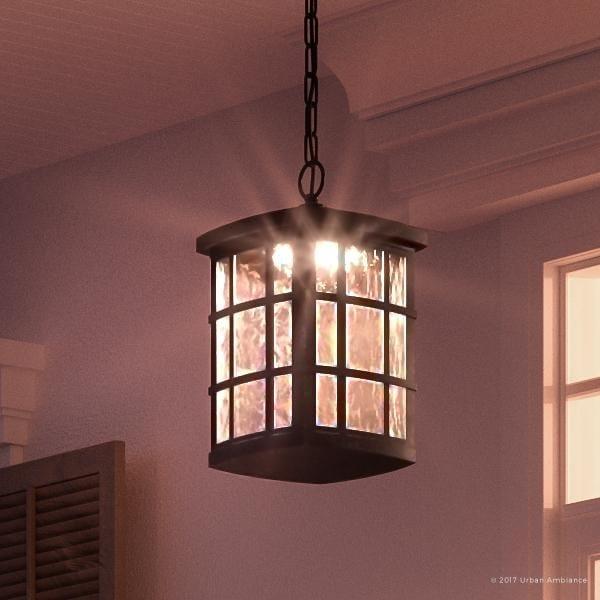 Luxury Craftsman Outdoor Pendant Light 15 H X 9 5 W With Tudor Style Black Silk Finish
