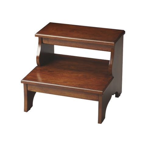 Transitional Wooden Step Stool in Chestnut Burl Finish - Medium Brown - N/A