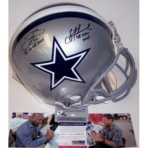 new style 5fe7a 976dc Emmitt Smith & Troy Aikman Autographed Hand Signed Dallas Cowboys Authentic  Helmet - PSA/DNA