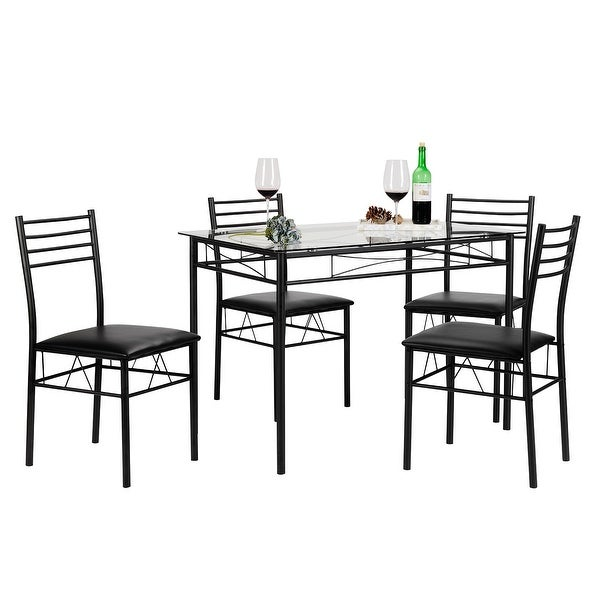 VECELO 5 Piece Glass Dining Table Set, Glass Table And 4 Chair Sets Metal