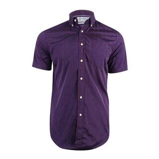 Haspel Men's Rampart Stripe Regular Fit Button-Down Shirt - red blue stripe
