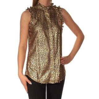 MICHAEL KORS Womens Brown Metallic Animal Print Sleeveless Turtle Neck Top Size: 4