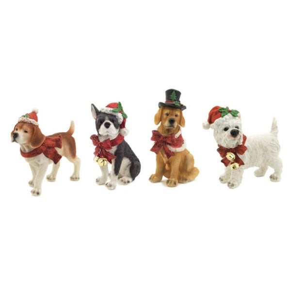 "Pack of 4 Dogs in Festive Garb Figurines 8.5"" - brown"