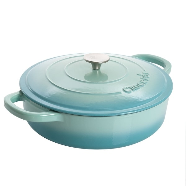 Crock Pot Artisan 5 Quart Round Enameled Cast Iron Braiser Pan with Self Basting Lid in Aqua Blue. Opens flyout.