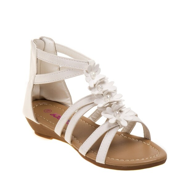 Shop Josmo Girls White Beaded Floral T Bar Open Toe Sandals - Free ... ea3e43a6fb8e
