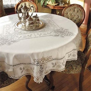 Heritage Lace HL-7000W 70 in. Heirloom Round Tablecloth