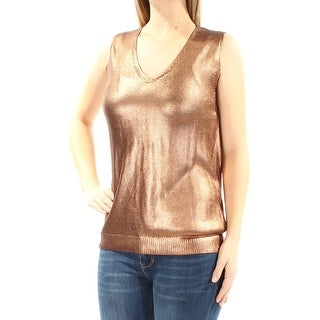 Womens Brown Sleeveless V Neck Party Top Size M