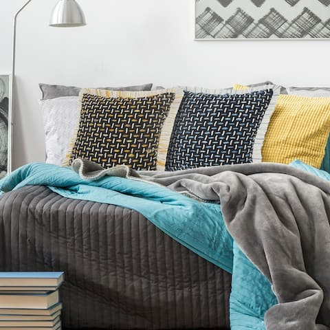 Modern Interwoven Throw Pillow with Fringe