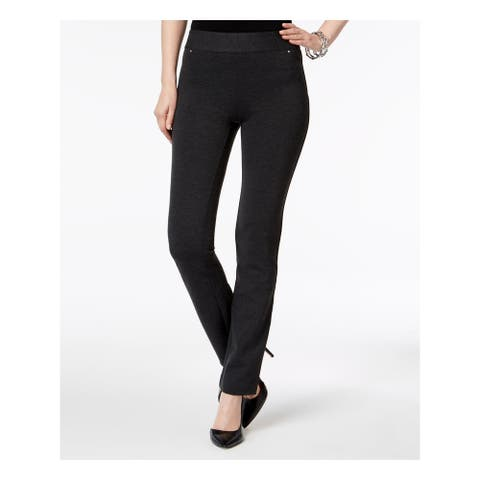 INC Womens Black Embellished Solid Straight leg Pants Size 8