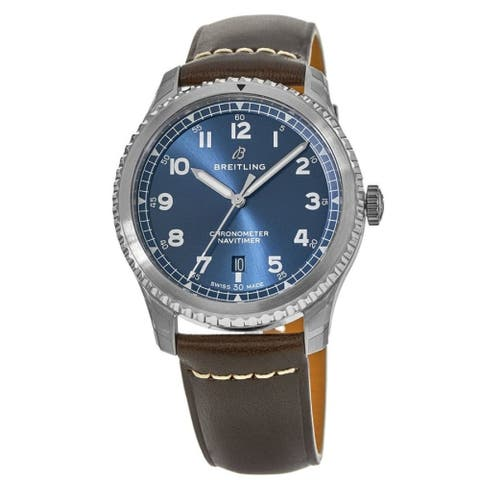 Breitling Men's A1731410-C998-490X 'Navitimer 8' Brown Leather Watch - Blue
