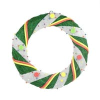 "18"" Pre-Lit Green and White Candy Striped Sisal Artificial Christmas Wreath - Clear Lights"