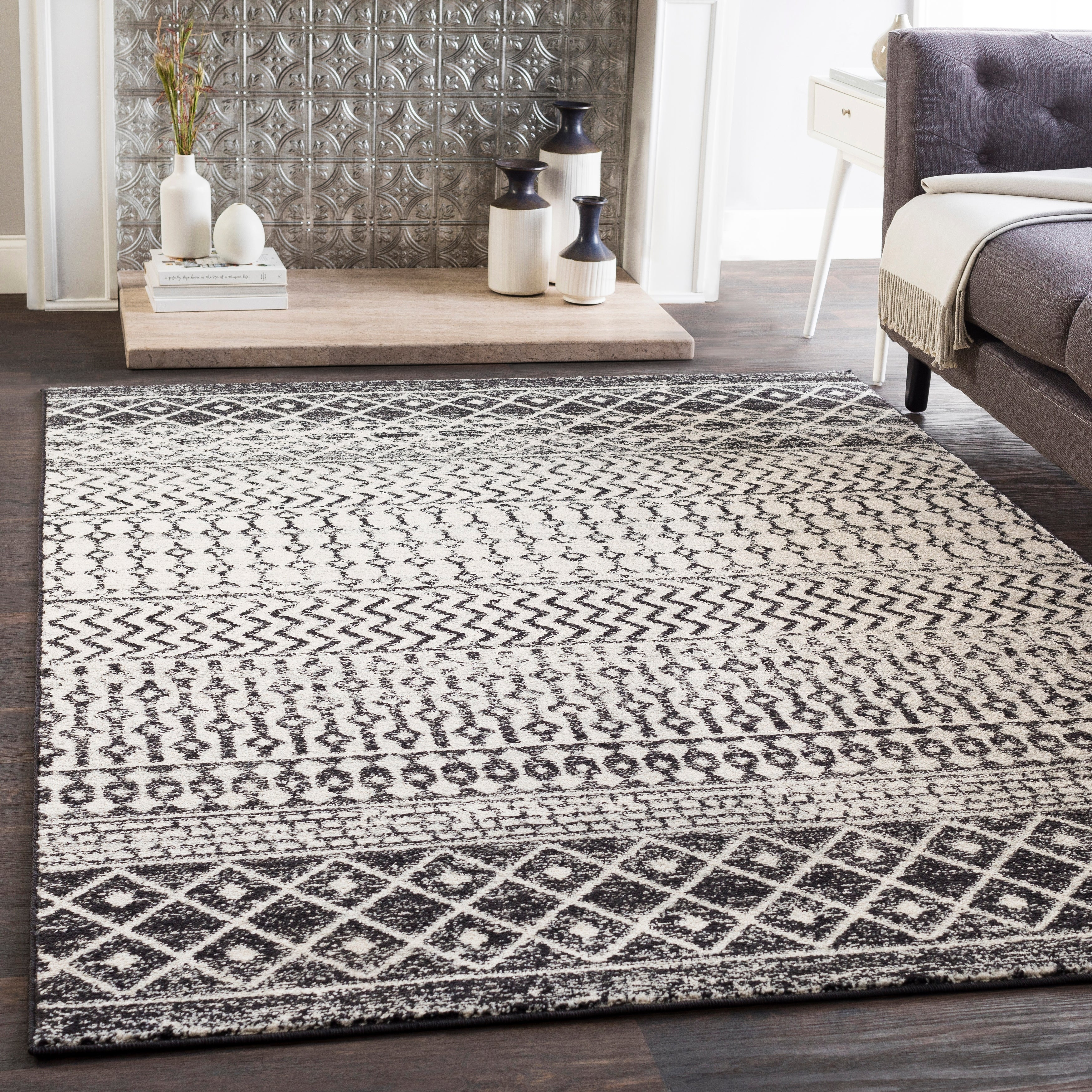 E Black And White Bohemian Area Rug