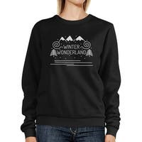 Winter Wonderland Unisex Black Winter Pullover Sweatshirt Fleece