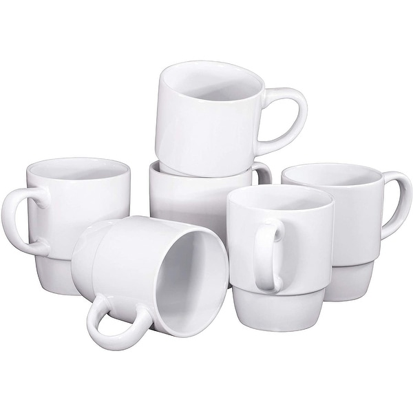 Ceramic Stacking Coffee Mug Tea Cup Dishwasher Safe Set of 6 - Large 18 Ounce. Opens flyout.