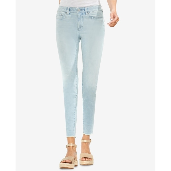 Vince Camuto Womens Raw-Hem Skinny Fit Jeans, Blue, 32. Opens flyout.