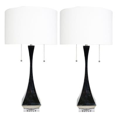 """Set of 2 Messina Table Lamps, Polished Nickel, 28"""" Tall"""