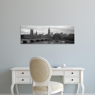 Easy Art Prints Panoramic Image 'Westminster Bridge, Big Ben, Houses of Parliament, London, England' Canvas Art