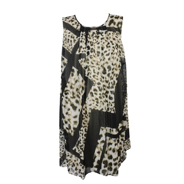 Calvin Klein Plus Size Beige Animal-Print Sleeveless A-Line Dress 22W