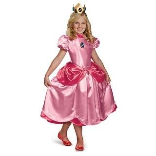 Girls Princess Peach Deluxe Halloween Costume