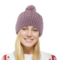 Chunky Cable Knit Beanie Hat With Pom Pom - Winter Soft Stretch Cap Hat - Mauve