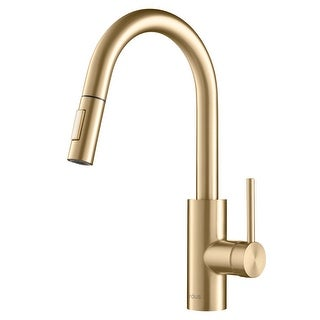 Kraus KPF-2620 Oletto 1-Handle 2-Function Sprayhead Pull Down Kitchen Faucet in Brushed Brass