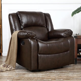 Belleze Deluxe Padded Brown Faux Leather Recliner Chair Lounge Club