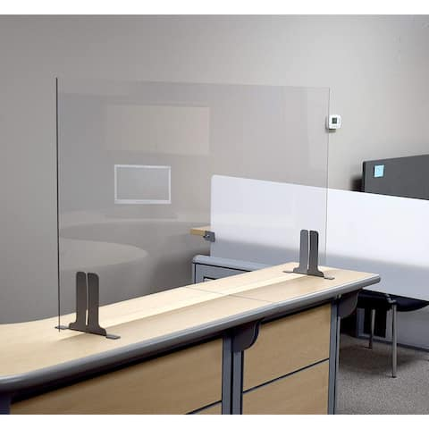 """Post Pandemic Partitions Commercial Grade Antimicrobial Desk, Table, Countertop Sneeze Guard Protection Shield - 30""""W x 24""""H"""
