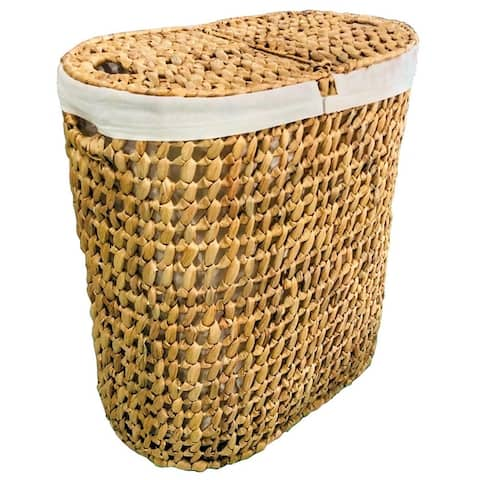 Double Sided Laundry Clothes Hamper Woven Wicker Seagrass with Lid