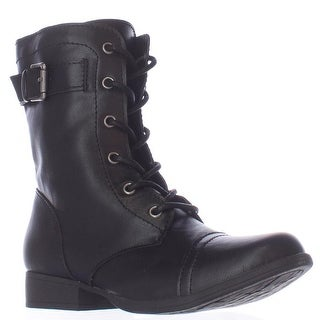 AR35 Faylln Lace Up Combat Boots, Black (2 options available)