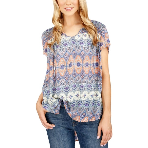 a2402a94b240f Shop Lucky Brand Womens Juniors Peasant Top Smocked Tie Front - Free ...