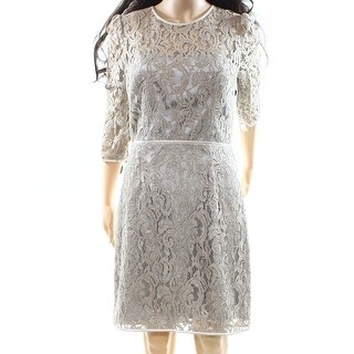 ABS by Allen Schwartz NEW Beige Womens Size 8 Floral Lace Sheath Dress