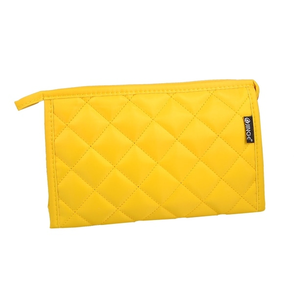 Unique Bargains Grid Pattern Portable Zippered Cosmetic Bag Organizer for Travel Storage Makeup Yellow w Mirror