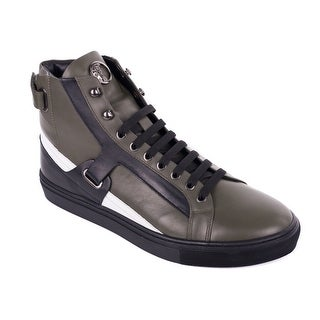 Versace Collection Mens Green Leather Harness Hi Top Sneaker