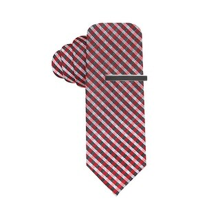 Alfani Hand Made Mini Gingham Check Skinny Tie Red and Charcoal