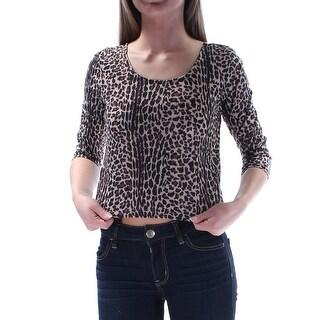 Womens Brown Beige Animal Print 3/4 Sleeve Scoop Neck Top Size XS