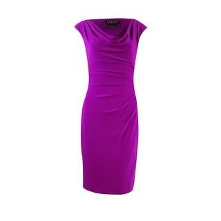 Lauren Ralph Lauren Women's Cap Sleeve Pleated Ruched Dress (0, Luxe Pink) - luxe pink - 0