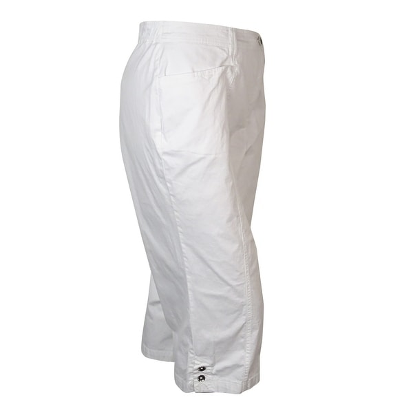 JM Collection Woman Plus Size Capri Pants Bright White 22W