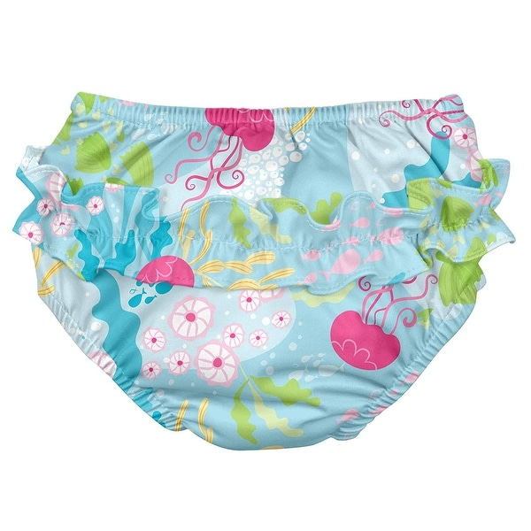 Baby Girls Ruffle Snap Reusable Absorbent Swim Diaper Aqua Coral Reef 24 Months i play