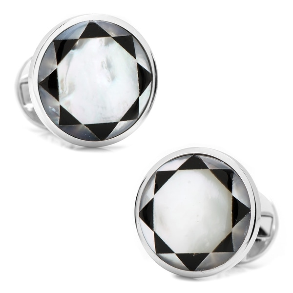 Sterling Silver Mother of Pearl Mosaic Cufflinks