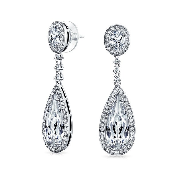 Bling Jewelry Pave CZ Teardrop Bridal Chandelier Earrings Rhodium ...