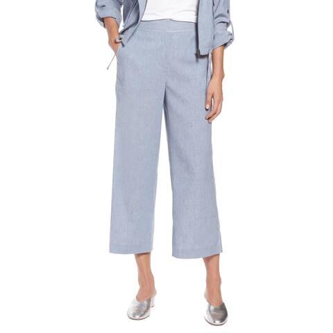 Halogen Chambray Blue Women's Size 12 Capris Cropped Stretch Pants