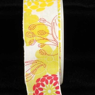 """Floral Linen French Wired Craft Ribbon 1.5"""" x 22 Yards"""