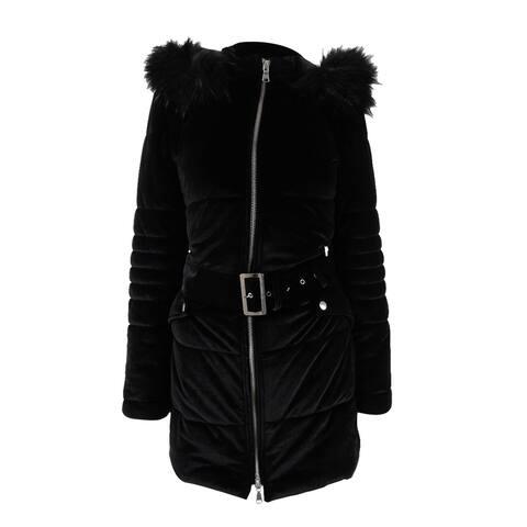 INC International Concepts Women's Hooded Velvet Puffer Coat - Deep Black
