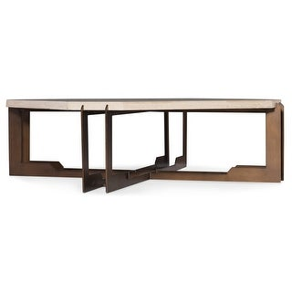 """Hooker Furniture 638-50428  Eastover 48"""" Wide Travertine Top Metal Coffee Table from the Melange Collection"""