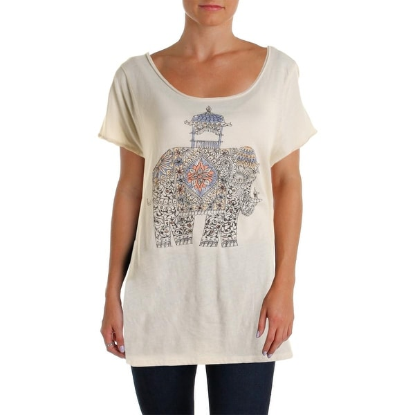 Lucky Lotus Womens Pullover Top Short Sleeve Cut Out