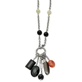 Chisel Stainless Steel Black Agate 26 with 2 Inch Extension Necklace (10 mm) - 26 in