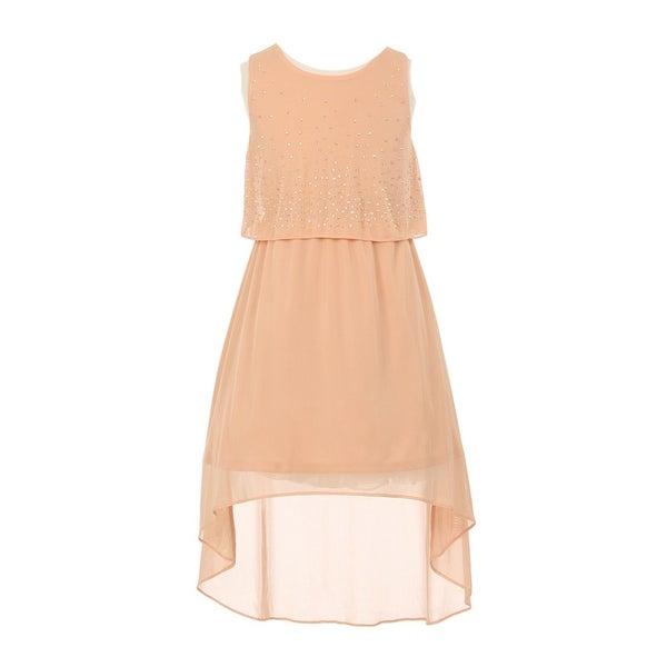 dff73f3268 Shop Little Girls Peach Rhinestone Adorned Chiffon Hi-Lo Flower Girl ...
